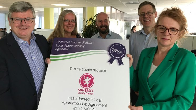 UNISON and Somerset County Council sign apprenticeship agreement