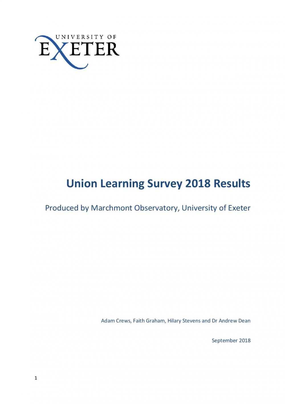 Union Learning Fund 2018 Learning Survey
