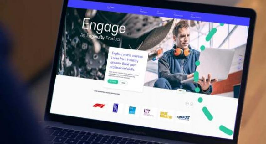 Engage website open on laptop
