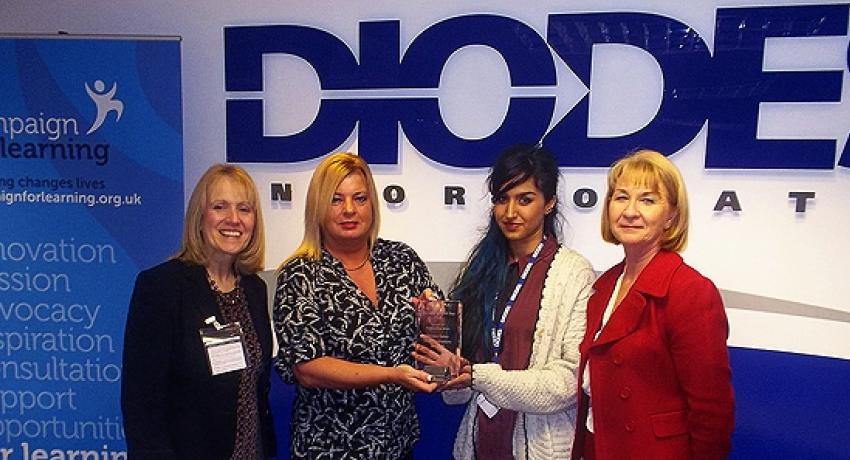 Diodes Zetex Semiconductors Limited, Oldham, wins a Campaign for Learning/Skills Funding Agency award for learning in the workplace in 2013 © Campaign for Learning