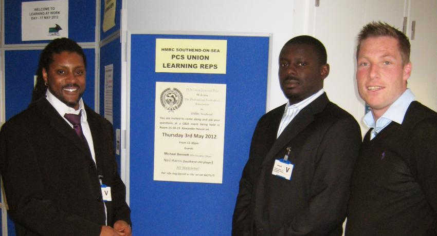 PFA reps visit PCS learning reps at HMRC Southend with Oreleo ©Private